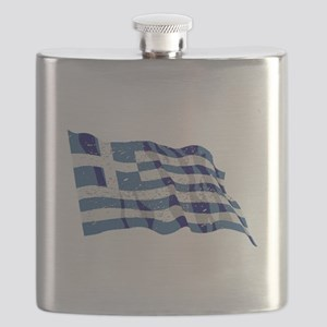 Greece Flag (Distressed) Flask